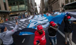 Trump Flag as Wide as Fifth Avenue Tours NYC