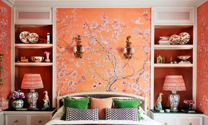 """Askew"" wallpaper in Hannah Cecil Gurney's bedroom. (Douglas Friedman)"