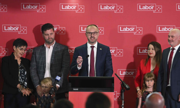 ACT Chief Minister Andrew Barr delivers his election victory speech at the Belconnen Labor Club in Canberra, Australia, on Oct. 17, 2020. (AAP Image/Lukas Coch)