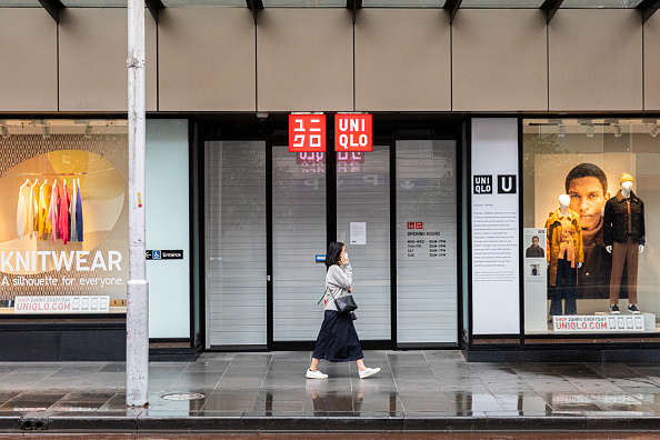 Closed Uniqlo store in Melbourne CBD, Australia on April 5, 2020. Retail told to wait til Nov. 1, 2020 to reopen due to stage four COVID-19 restrictions. (Asanka Ratnayake/Getty Images)