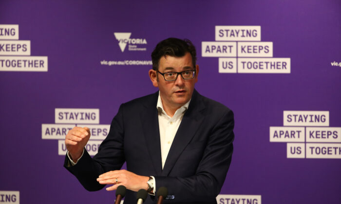 Victorian Premier Daniel Andrews speaks during a press conference in Melbourne, Australia, on Oct. 14, 2020. (Robert Cianflone/Getty Images)