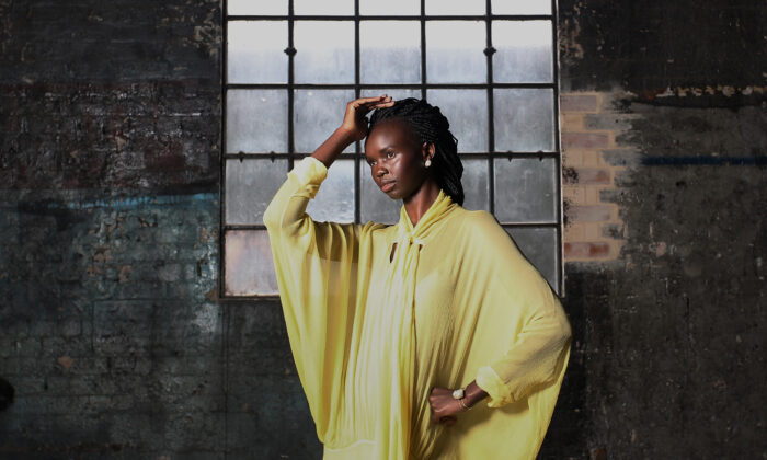 SYDNEY, AUSTRALIA - OCTOBER 16: Model Akiima poses during a Australian Fashion Week press conference at Carriageworks on in Sydney, Australia on Oct. 16, 2020. (Lisa Maree Williams/Getty Images)
