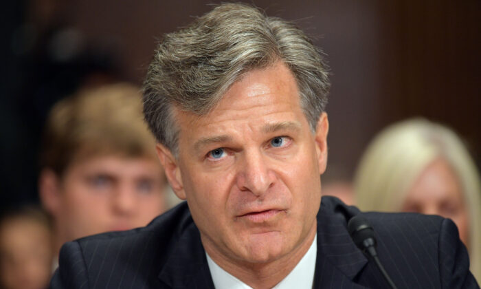 Christopher Wray testifies before the Senate Judiciary Committee in the Dirksen Senate Office Building on Capitol Hill in Washington on July 12, 2017. (Mandel Ngan/AFP via Getty Images)
