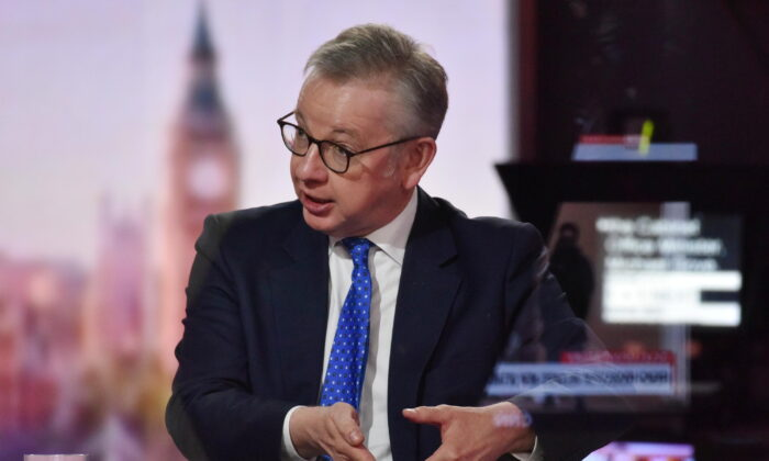Britain's Chancellor of the Duchy of Lancaster Michael Gove appears on BBC TV's The Andrew Marr Show in London, on Oct. 18, 2020. (Jeff Overs/BBC/Handout via Reuters)
