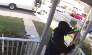 Delivery Man Pays Respect To Fallen Flag