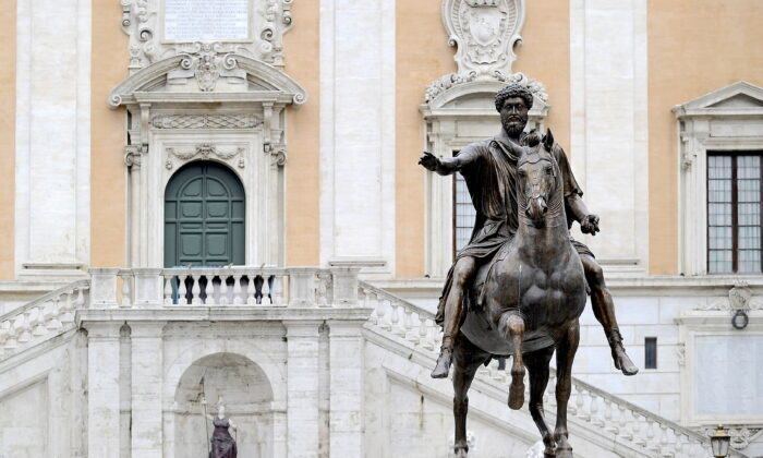 The equestrian statue of emperor Marcus Aurelius, in the Piazza del Campidoglio in central Rome, on Feb. 9, 2010. (FILIPPO MONTEFORTE/AFP via Getty Images)