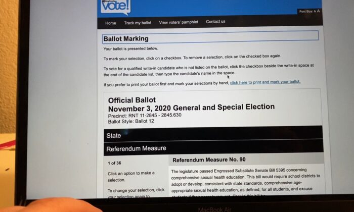 Washington State ballot requested online and ready to be printed out on a computer in Washington State on Oct. 18, 2020. (The Epoch Times)