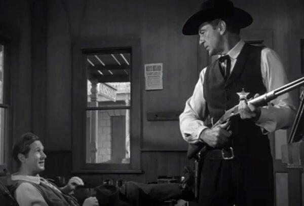 Lloyd Bridges and Gary Cooper in High Noon