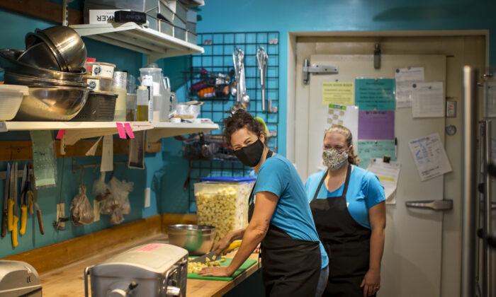 Nickey Miller, left, and Josie Rudderham, co-owners of Cake and Loaf pose inside of their shop in Hamilton, Ont., Canada on Oct. 5, 2020. A new poll shows small business owners are considering their options as COVID-19 takes a heavy toll on their income. (Tara Walton/The Canadian Press)