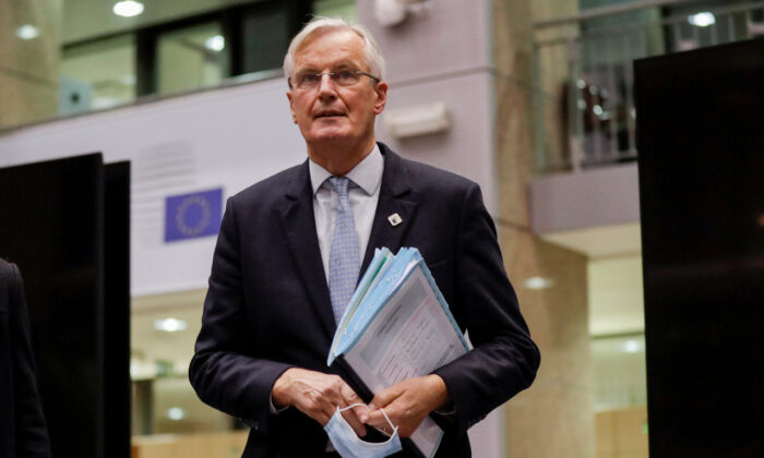 European Union chief Brexit negotiator, Michel Barnier, at a two-day face-to-face EU summit in Brussels on Oct. 15, 2020. (Olivier Hoslet/Pool via Reuters)