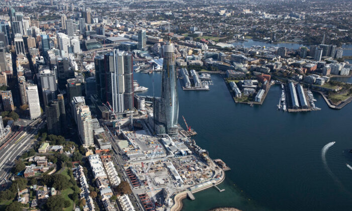 An aerial view of Crown Casino and Barangaroo on April 22, 2020 in Sydney, Australia. (Ryan Pierse/Getty Images)