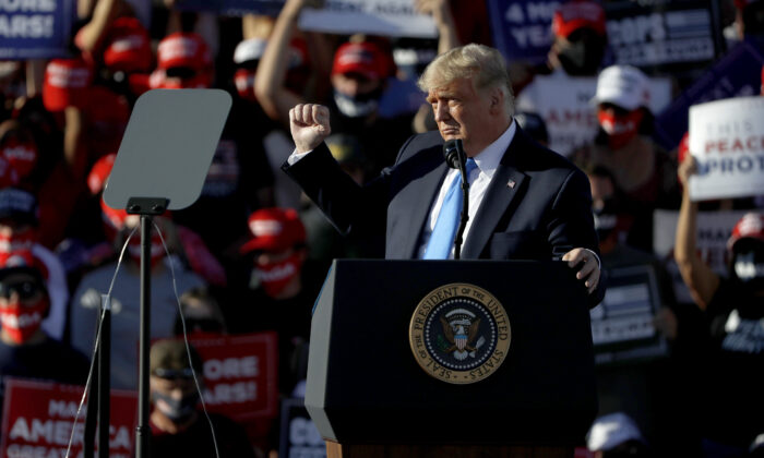 President Donald Trump gestures during a campaign rally in Carson City, Nev., on Oct. 18, 2020. (Stephen Lam/Getty Images)