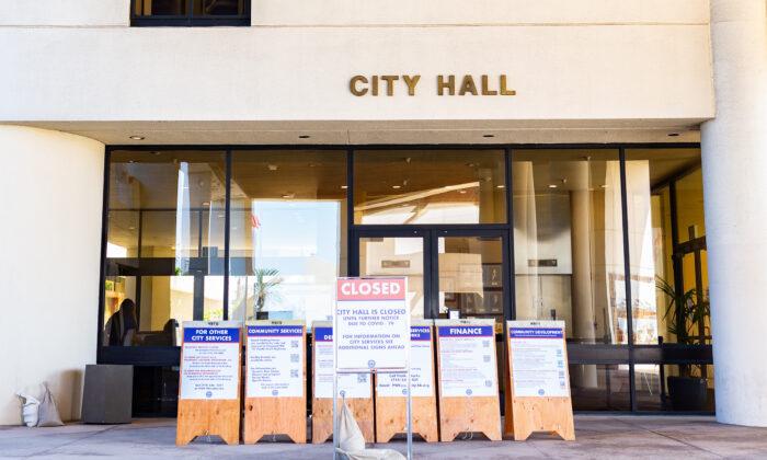 The Huntington Beach Civic Center in Huntington Beach, Calif., on Sept. 29, 2020. (John Fredricks/The Epoch Times)