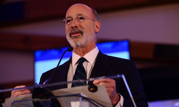 "Pennsylvania Gov. Tom Wolf speaks on stage during the Geisinger National Symposium, ""From Crisis to Cure: Revitalizing America's Healthcare System,"" in Danville, Penn. on Nov. 9, 2017. (Lisa Lake/Getty Images for Geisinger Symposium)"