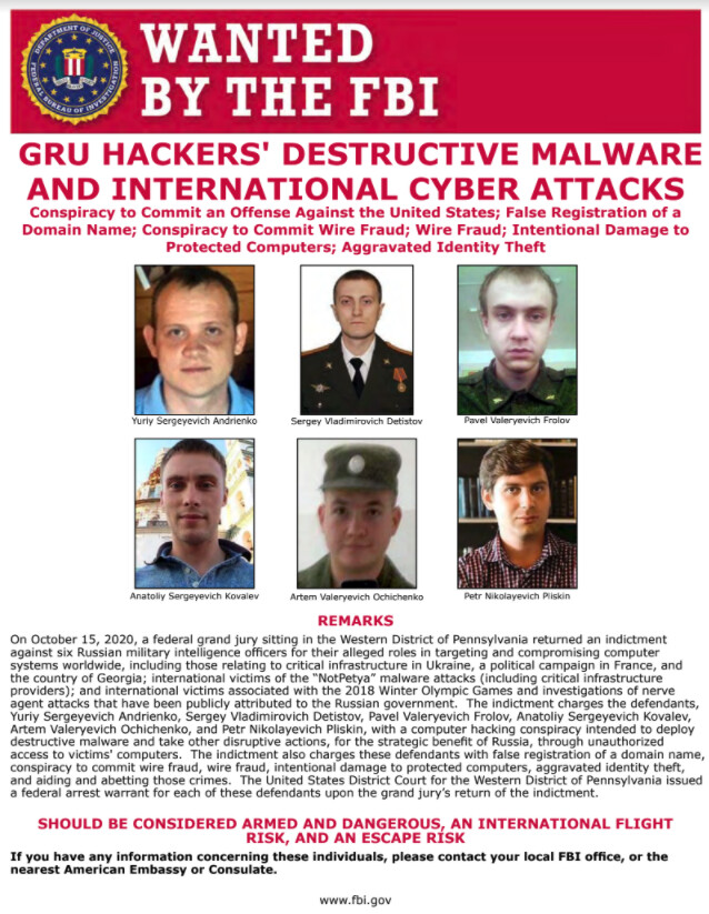 six wanted Russian military intelligence officers