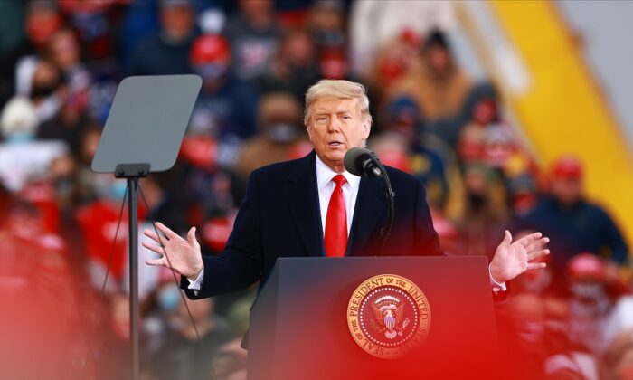 President Donald Trump speaks during a campaign rally in Muskegon, Mich., on Oct. 17, 2020. (Rey Del Rio/Getty Images)