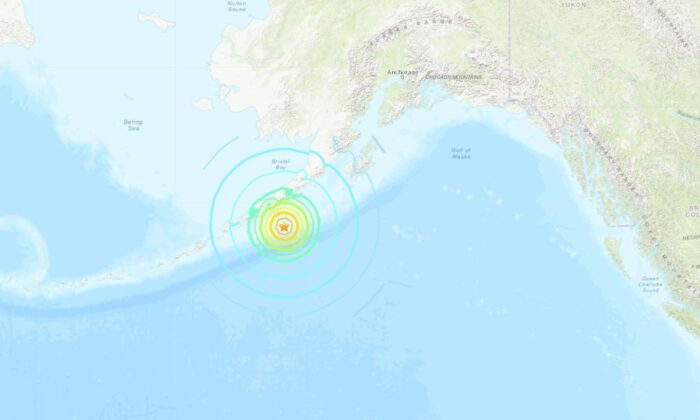 A 7.5 magnitude earthquake struck off the coast of Alaska, triggering a tsunami along the coast of the state. (USGS)