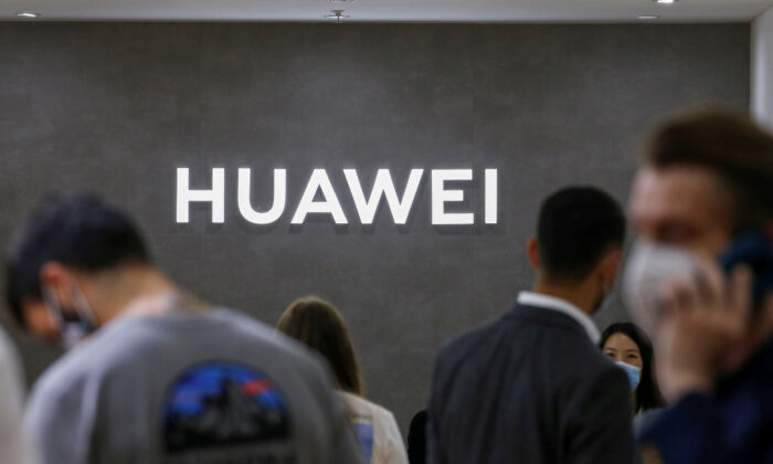 The Huawei logo is seen at the IFA consumer technology fair in Berlin, Germany, on Sept. 3, 2020. (Michele Tantussi/Reuters)