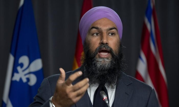 NDP leader Jagmeet Singh speaks during a news conference on Parliament Hill on Oct. 8, 2020 in Ottawa. (THE CANADIAN PRESS/Adrian Wyld)