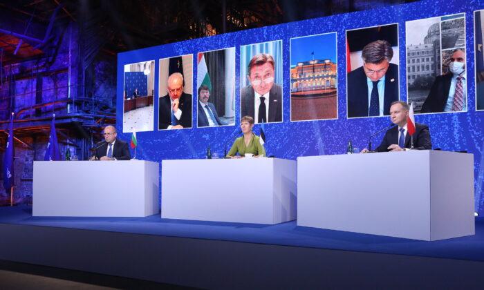 (L) Bulgaria's President Rumen Radev, (C) Estonia's President Kersti Kaljulaid, (R) Poland's President Andrzej Duda at the Three Seas Virtual Summit in Tallinn, Estonia on Oct. 19, 2020.  (Courtesy of Three Seas / Annika Haas)