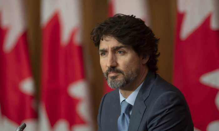 Prime Minister Justin Trudeau is seen during a news conference on Oct. 20, 2020 in Ottawa. (THE CANADIAN PRESS/Adrian Wyld)