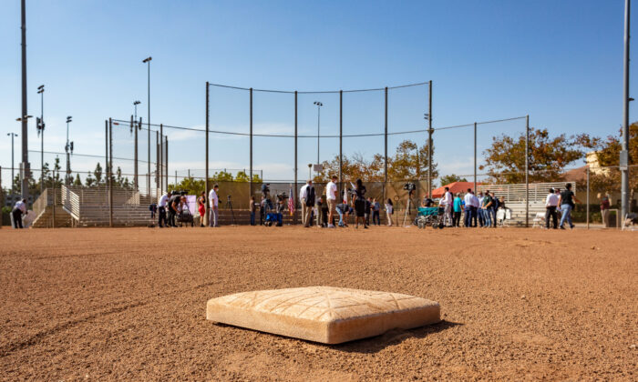 Orange County athletes and officials gather in Tustin Sports Park to discuss reopening youth sports activities in Tustin, Calif., on Oct. 19, 2020. (John Fredricks/The Epoch Times)