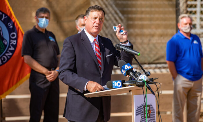 Orange County Supervisor Donald Wagner speaks at an event calling for the reopening of youth sports activities in Tustin, Calif., on Oct. 19, 2020. (John Fredricks/The Epoch Times)