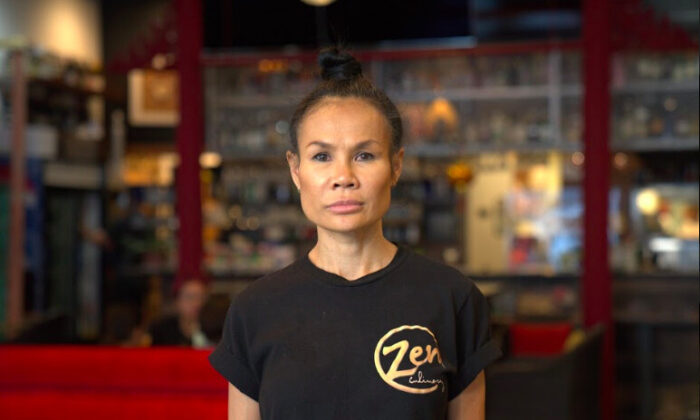 Owner Rachel McAuley at the Zen Thai Cafe in downtown Phoenix on Oct. 16, 2020. (The Epoch Times)