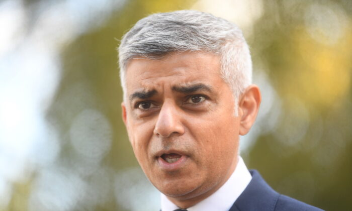 Mayor of London Sadiq Khan makes a statement to media at New Scotland Yard on Sept. 25, 2020 in London, England. (Victoria Jones - WPA Pool/Getty Images)