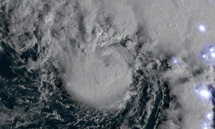 NOAA's GOES-East satellite captured the Tropical Storm Epsilon, which strengthened from Tropical Depression Twenty-Seven on Oct. 19, 2020. (NOAA Environmental Visualization Laboratory)