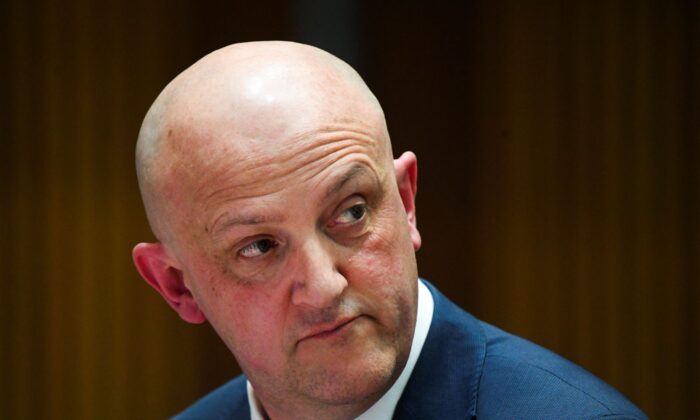 Director-General of the Australian Security Intelligence Organisation (ASIO) Mike Burgess speaks during a Senate inquiry at Parliament House in Canberra, Tuesday, October 20, 2020. (AAP Image/Lukas Coch)