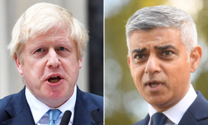 L: Britain's Prime Minister Boris Johnson delivers a statement outside 10 Downing Street in central London, on Sept. 2, 2019.  (Ben Stansall/AFP via Getty Images) R: Mayor of London Sadiq Khan makes a statement to media at New Scotland Yard, in London, on Sept. 25, 2020.  (Victoria Jones/WPA Pool/Getty Images)