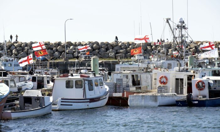 Sipekne'katik First Nation boats are seen in Saulnierville, N.S., on Sept. 20, 2020. (The Canadian Press/Mark O'Neill)