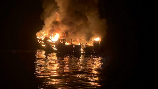 The dive boat Conception is engulfed in flames