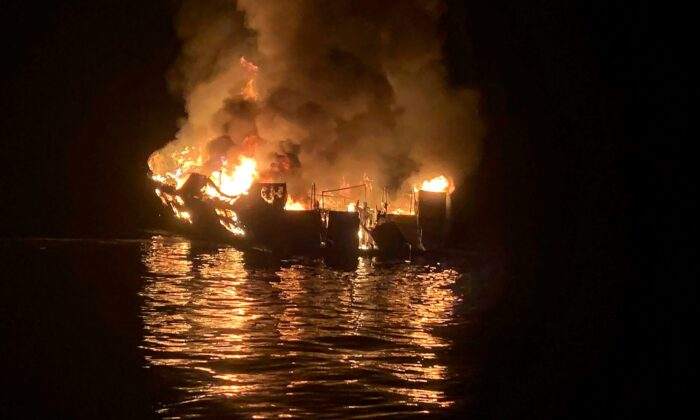 The dive boat Conception is engulfed in flames after a deadly fire broke out aboard the commercial scuba diving vessel off the Southern California coast on Sept. 2, 2019. (Santa Barbara County Fire Department via AP)
