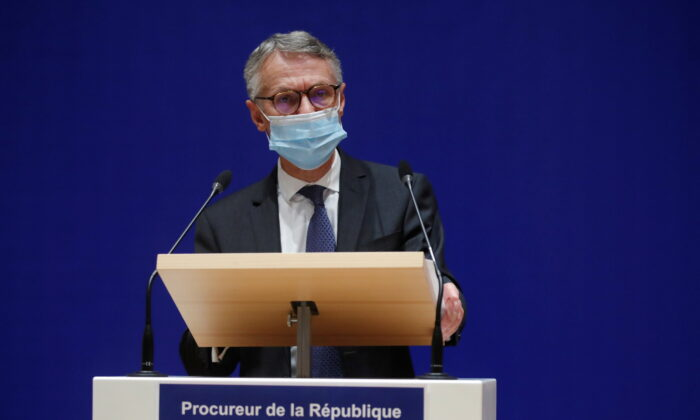 French anti-terrorism prosecutor Jean-Francois Ricard gives a news conference on the latest in the investigation over the murder of the French teacher Samuel Paty, who was beheaded on the streets of the Paris suburb of Conflans-Sainte-Honorine, at the courthouse in Paris, France, Oct. 21, 2020. (Charles Platiau/Reuters)