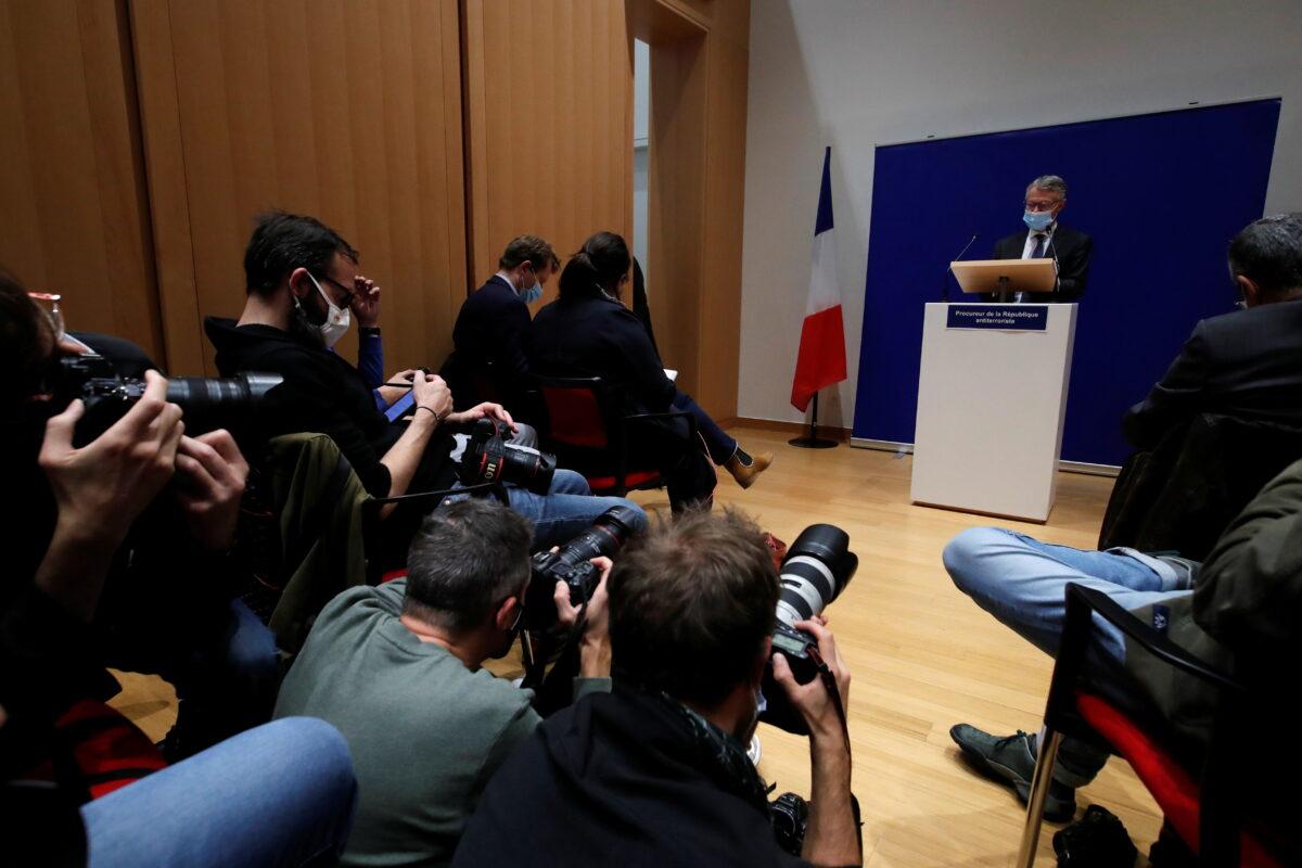French anti-terrorism prosecutor gives newser on beheaded French teacher Samuel Paty