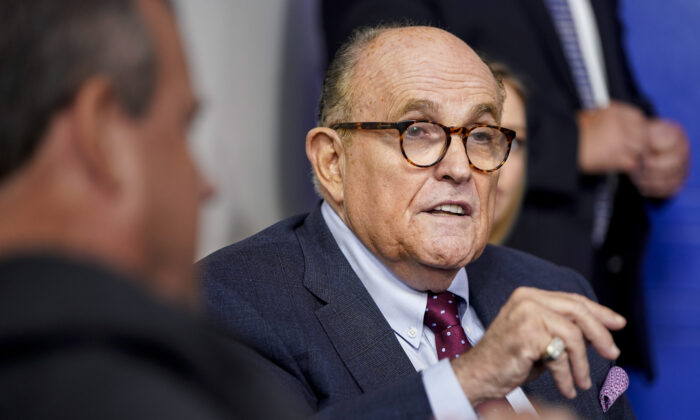 Former New York Mayor Rudy Giuliani speaks during a news conference held by U.S. President Donald Trump in the Briefing Room of the White House in Washington on Sept. 27, 2020. (Joshua Roberts/Getty Images)