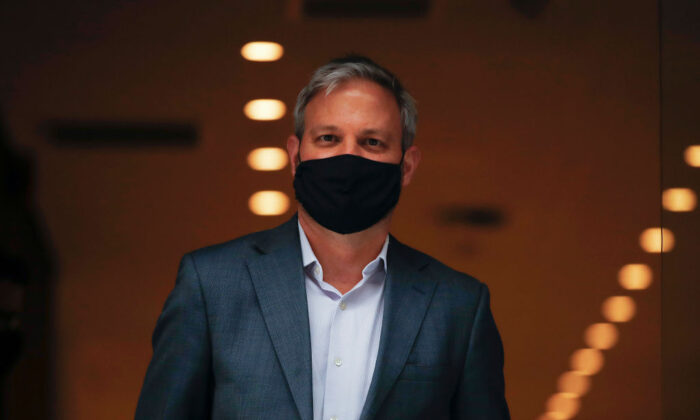 Victorian Chief Health Officer Brett Sutton leaving a press conference in Melbourne, Australia on Sept. 14, 2020. (Daniel Pockett/Getty Images)