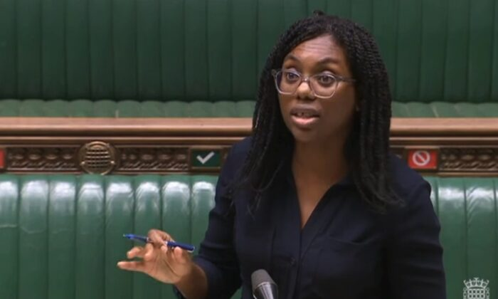 Equalities Minister Kemi Badenoch talks in the House of Commons in London on Oct. 20, 2020. (Parliament TV)