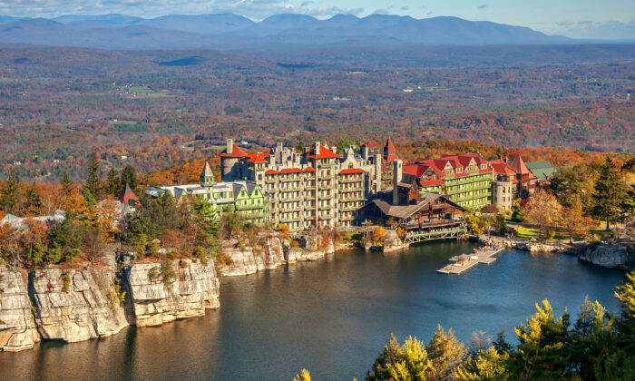 An aerial view of Mohonk Mountain House amid fall colors. (Courtesy of Mohonk Mountain House)