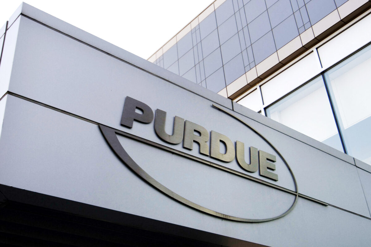 Purdue Pharma logo at its office