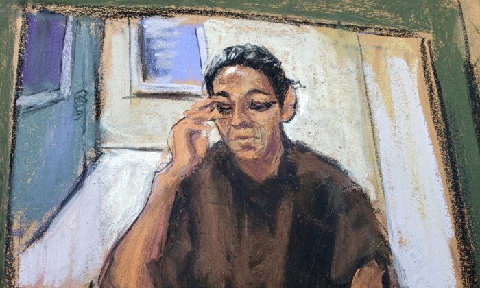 In this courtroom sketch, Ghislaine Maxwell appears via video link during her arraignment hearing in Manhattan Federal Court in New York City, on July 14, 2020. (Jane Rosenberg/File Photo/Reuters)