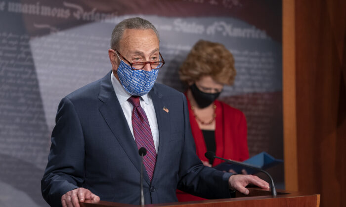Senate Minority Leader Chuck Schumer (D-N.Y.) speaks during a news conference on Capitol Hill in Washington on Oct. 20, 2020. (Stefani Reynolds/Getty Images)
