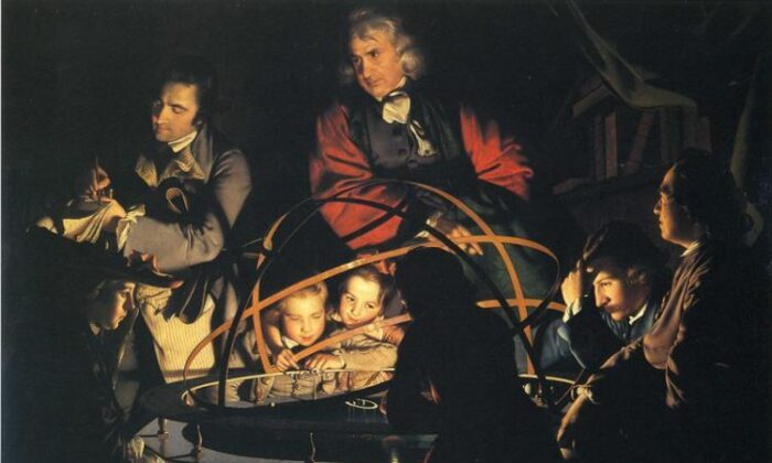 """""""Philosopher Lecturing on the Orrery,"""" circa 1776, by Joseph Wright of Derby. Oil on canvas, 57.9 inches by 80 inches. Derby Museum and Art Gallery, England. (Public Domain)"""