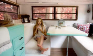 Talented 11-Year-Old Girl Buys and Renovates a 1988 Camper Into a Gorgeous Clubhouse