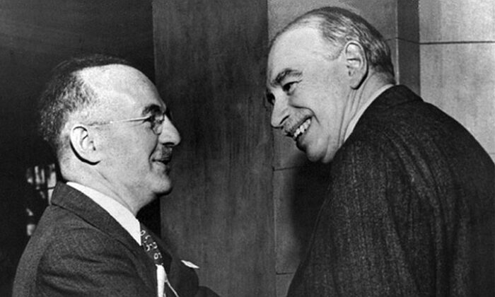 U.S. Treasury Assistant Secretary Harry Dexter White (L) and John Maynard Keynes, honorary adviser to the UK Treasury, at the inaugural meeting of the International Monetary Fund's Board of Governors in Savannah, Ga., on March 8, 1946. (IMF)