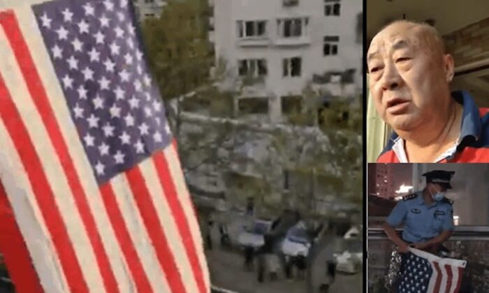 Chinese activist Sui Shuangsheng hung up the flags of five democratic countries at his home in Qingdao city, Shandong Province, China on Oct. 1, 2020.He calls for democracy and the Chinese regime to step down. (Twitter screenshots)
