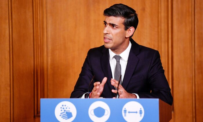 Britain's Chancellor of the Exchequer Rishi Sunak speaks during a virtual press conference inside 10 Downing Street in central London, on Oct. 12, 2020. (Toby Melville/Pool/ AFP via Getty Images)