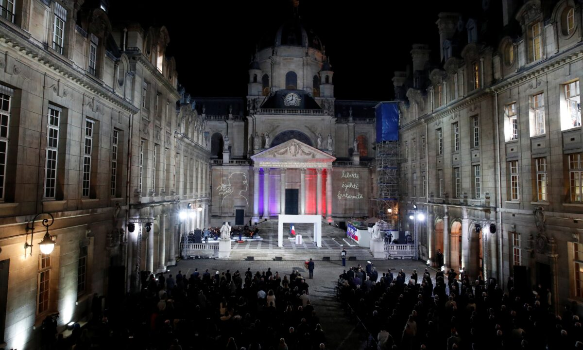 courtyard of the Sorbonne university during a national memorial event